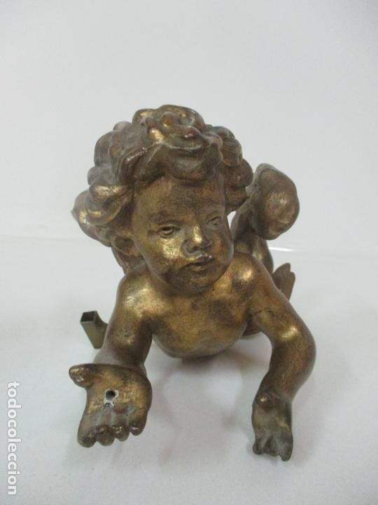 Arte: Preciosa Pareja de Ángeles Querubines - Ángel en Talla de Madera Dorada - S. XVIII-XIX - Foto 21 - 171120043