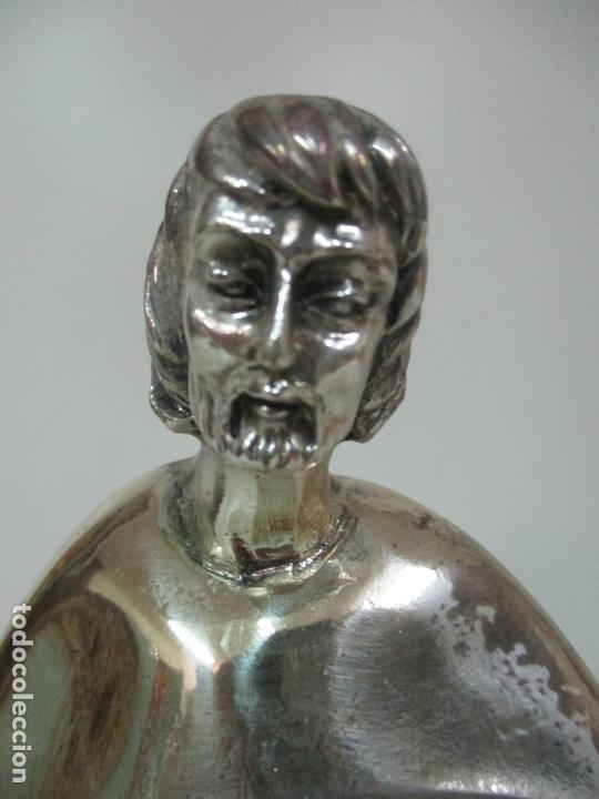 Arte: Escultura - Sagrada Familia Plateada - Metal con Baño de Plata - Peana de Madera - Foto 4 - 171121564
