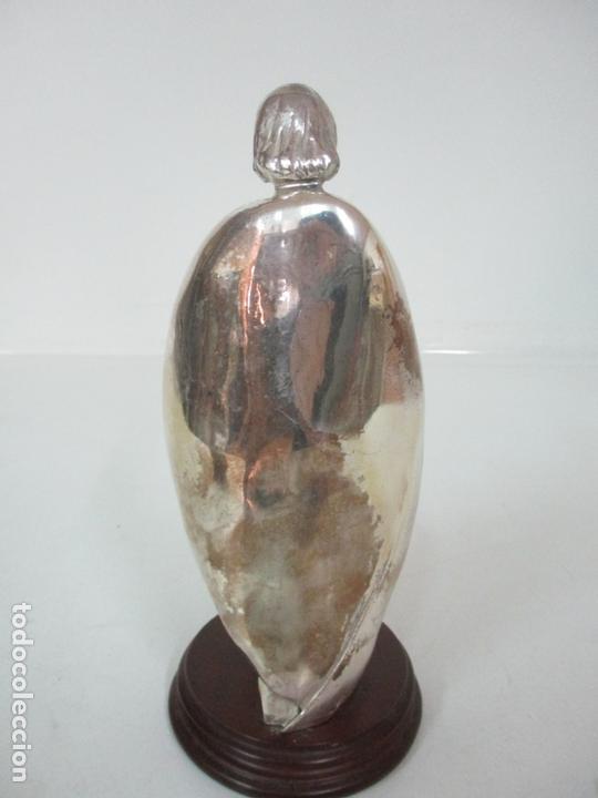 Arte: Escultura - Sagrada Familia Plateada - Metal con Baño de Plata - Peana de Madera - Foto 11 - 171121564