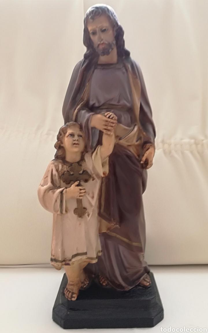 SAN JOSE Y NIÑO JESUS OLOT. (Arte - Arte Religioso - Escultura)