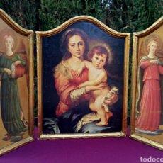 Arte: RETABLO. TRÍPTICO RELIGIOSO SOBRE MADERA. VIRGEN MARIA Y ARCANGELES. OLEO Y PAN DE ORO. Lote 171161384