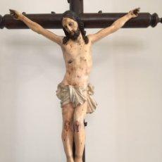 Arte: ANTIGUO CRISTO CRUCIFICADO - TALLA DE MADERA - SIGLO XVIII - GRAN TAMAÑO. Lote 159256816