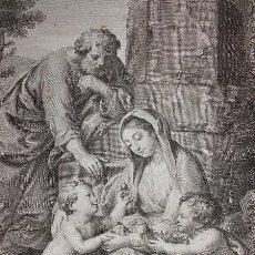 Arte: SACRA FAMILIA. DIBUJADO POR MENGS Y GRABADO A BURIL POR MANUEL SALVADOR CARMONA EN 1781. Lote 171169492