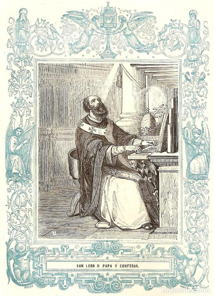 SAN LEÓN II PAPA Y CONFESOR - GRABADO DÉCADAS 1850-1860 - BUEN ESTADO (Arte - Arte Religioso - Grabados)