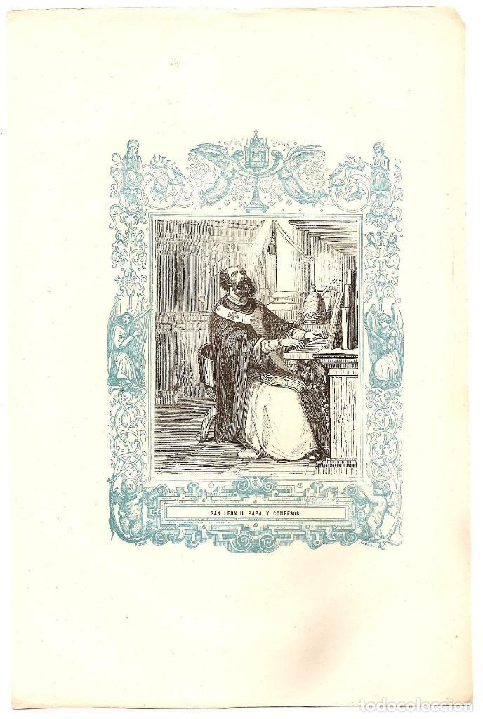 Arte: SAN LEÓN II PAPA Y CONFESOR - GRABADO DÉCADAS 1850-1860 - BUEN ESTADO - Foto 2 - 171260327