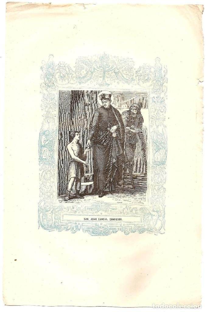 Arte: SAN JUAN CANCIO, CONFESOR - GRABADO DÉCADAS 1850-1860 - BUEN ESTADO - Foto 2 - 171261185