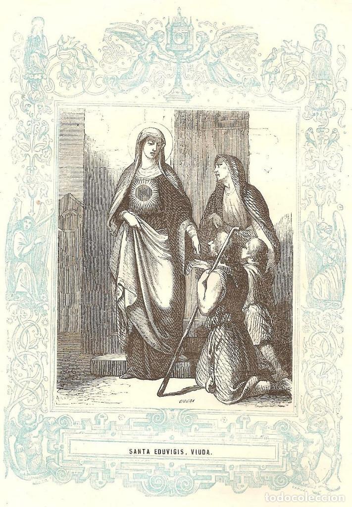 SANTA EDUVIGIS, VIUDA - GRABADO DÉCADAS 1850-1860 - BUEN ESTADO (Arte - Arte Religioso - Grabados)