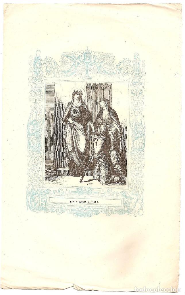 Arte: SANTA EDUVIGIS, VIUDA - GRABADO DÉCADAS 1850-1860 - BUEN ESTADO - Foto 2 - 171261458