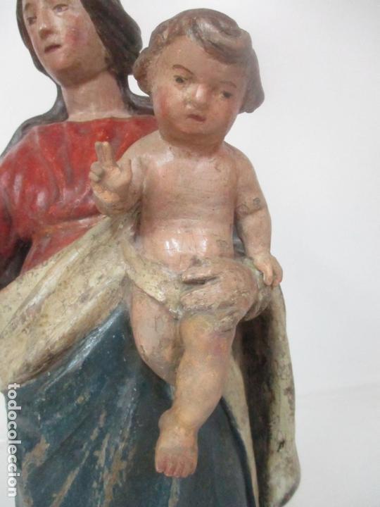 Arte: Antigua Virgen del Rosario - Talla de Madera Policromada - Escuela Catalana - S. XVII-XVIII - Foto 3 - 171296033