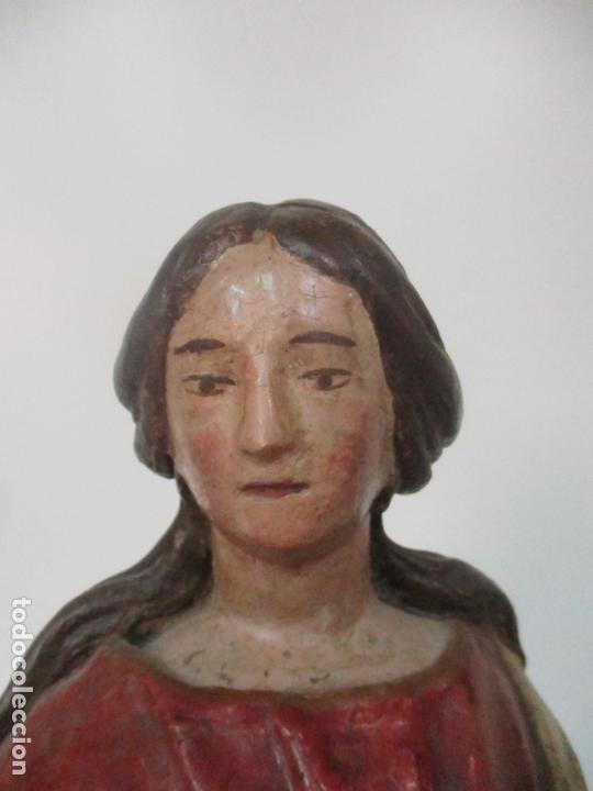 Arte: Antigua Virgen del Rosario - Talla de Madera Policromada - Escuela Catalana - S. XVII-XVIII - Foto 9 - 171296033