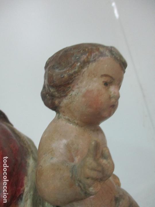 Arte: Antigua Virgen del Rosario - Talla de Madera Policromada - Escuela Catalana - S. XVII-XVIII - Foto 13 - 171296033