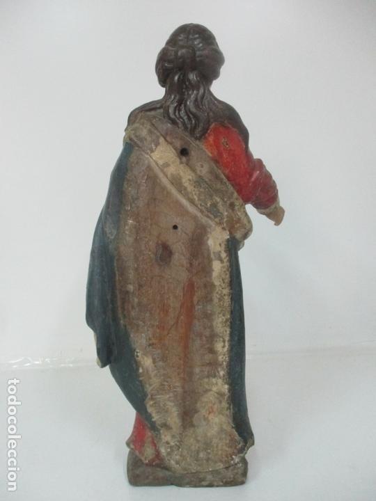Arte: Antigua Virgen del Rosario - Talla de Madera Policromada - Escuela Catalana - S. XVII-XVIII - Foto 14 - 171296033