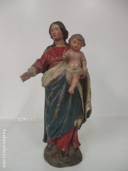 Arte: Antigua Virgen del Rosario - Talla de Madera Policromada - Escuela Catalana - S. XVII-XVIII - Foto 18 - 171296033