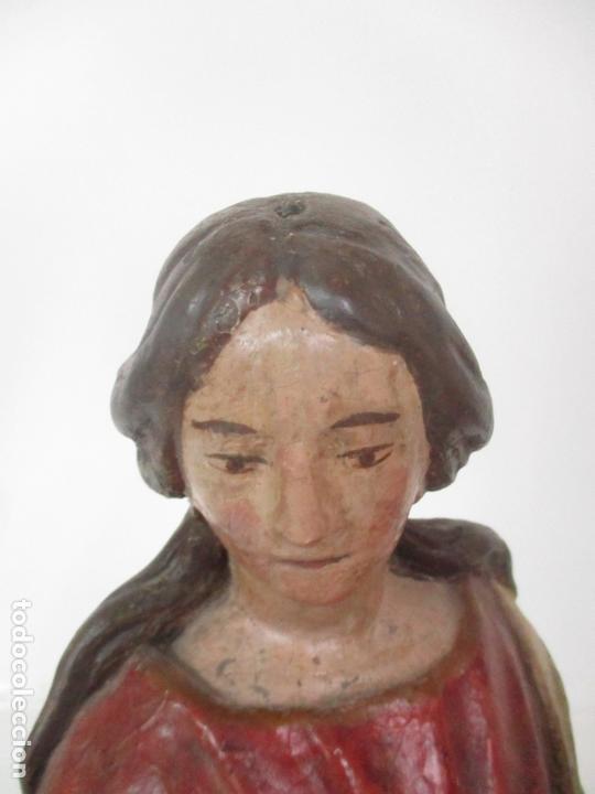 Arte: Antigua Virgen del Rosario - Talla de Madera Policromada - Escuela Catalana - S. XVII-XVIII - Foto 21 - 171296033