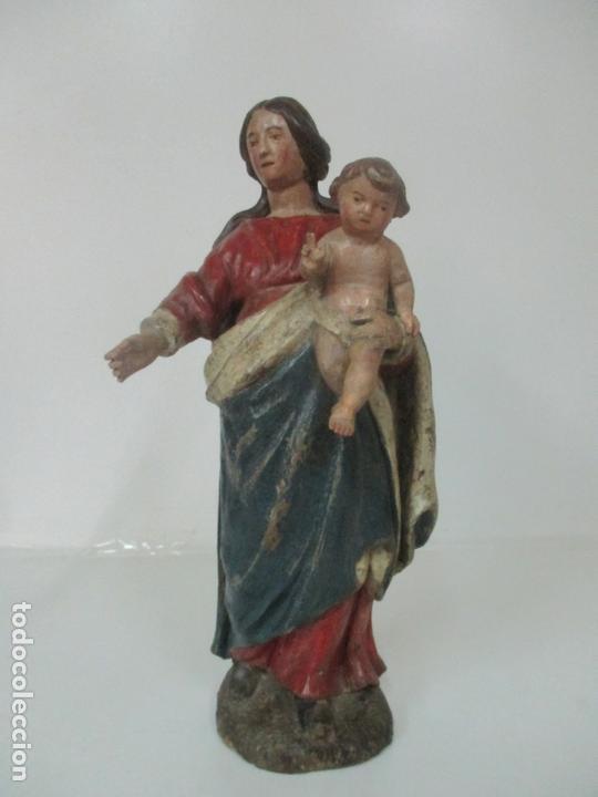 Arte: Antigua Virgen del Rosario - Talla de Madera Policromada - Escuela Catalana - S. XVII-XVIII - Foto 23 - 171296033