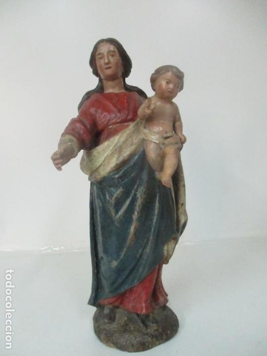ANTIGUA VIRGEN DEL ROSARIO - TALLA DE MADERA POLICROMADA - ESCUELA CATALANA - S. XVII-XVIII (Arte - Arte Religioso - Escultura)
