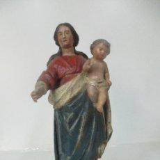 Arte: ANTIGUA VIRGEN DEL ROSARIO - TALLA DE MADERA POLICROMADA - ESCUELA CATALANA - S. XVII-XVIII. Lote 171296033