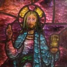 Arte: JESÚS REPRESENTADO SOBRE CRISTAL ESTILO VIDRIERA, ENMARCADO - 36 X 68CM. Lote 171315048
