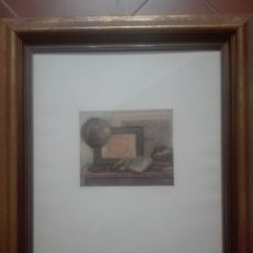 Arte: GRABADO ARTISTA CON MARCO DE MADERA DORADA. Lote 171317180