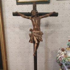 Arte: TALLA POLICROMADA ANTIGUA CRISTO EN LA CRUZ. FINALES XVIII-PRINCIPIOS XIX.. Lote 154576466