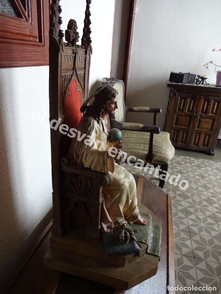 Arte: ENTRONIZACION SAGRADO CORAZON. Escultura estuco policromado. Ppios. S. XX. Escuela Olot?? - Foto 3 - 171338428