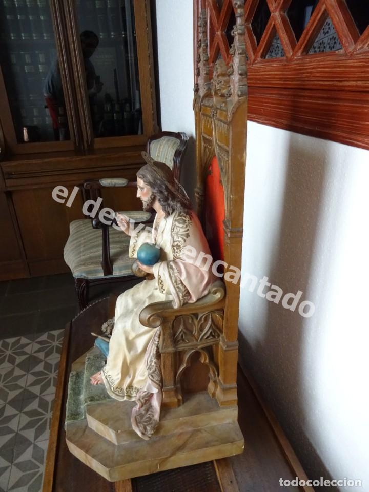 Arte: ENTRONIZACION SAGRADO CORAZON. Escultura estuco policromado. Ppios. S. XX. Escuela Olot?? - Foto 4 - 171338428