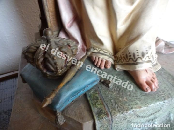 Arte: ENTRONIZACION SAGRADO CORAZON. Escultura estuco policromado. Ppios. S. XX. Escuela Olot?? - Foto 7 - 171338428