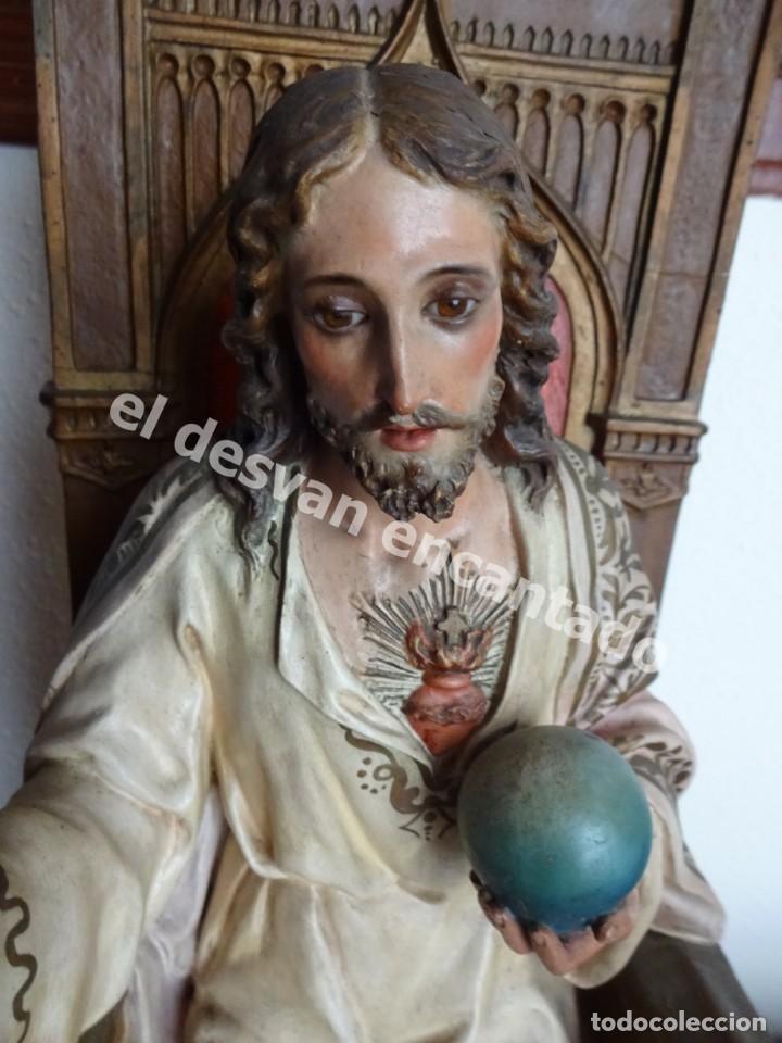 Arte: ENTRONIZACION SAGRADO CORAZON. Escultura estuco policromado. Ppios. S. XX. Escuela Olot?? - Foto 8 - 171338428