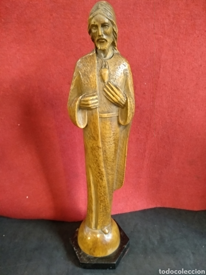 ESCULTURA DE MADERA SAGRADO CORAZÓN. 37 CM. ROSES (Arte - Arte Religioso - Escultura)