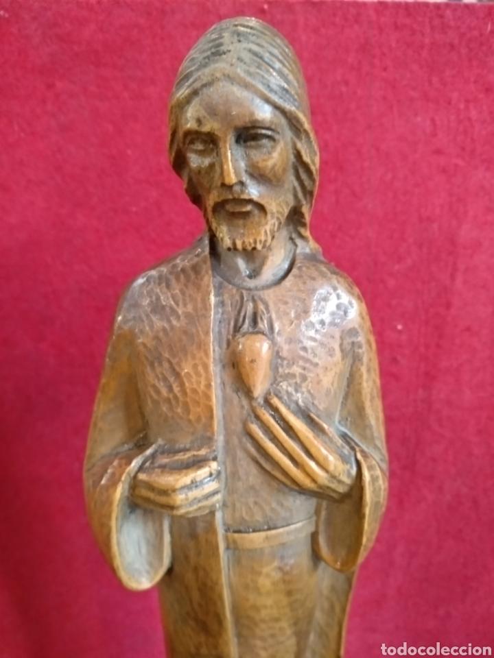 Arte: Escultura de madera sagrado corazón. 37 cm. Roses - Foto 2 - 171352924