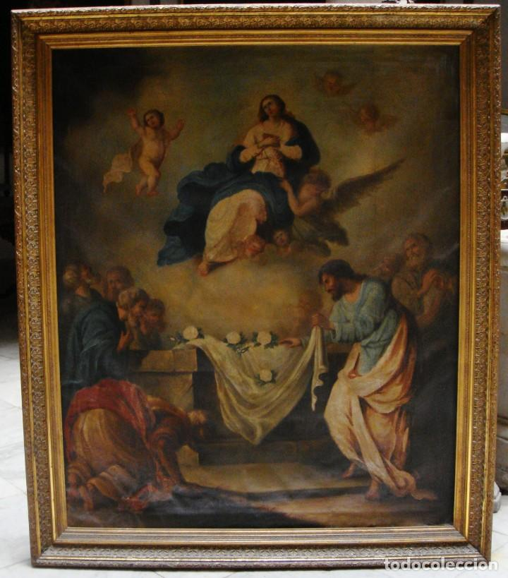 ÓLEO SOBRE LIENZO. S.XIX. PINTURA RELIGIOSA. ASUNCIÓN DE LA VIRGEN. (Arte - Arte Religioso - Pintura Religiosa - Oleo)
