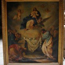 Arte: ÓLEO SOBRE LIENZO. S.XIX. PINTURA RELIGIOSA. ASCENSIÓN DE LA VIRGEN.. Lote 171442574