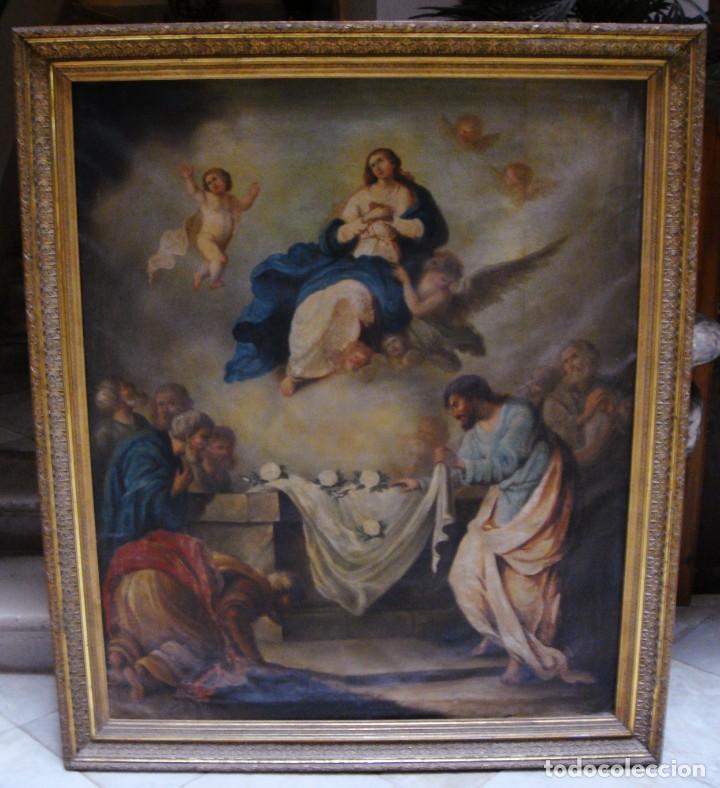 Arte: Óleo sobre lienzo. S.XIX. Pintura religiosa. Asunción de la Virgen. - Foto 2 - 171442574