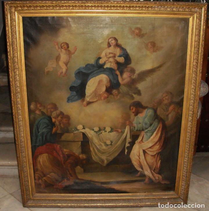 Arte: Óleo sobre lienzo. S.XIX. Pintura religiosa. Asunción de la Virgen. - Foto 8 - 171442574