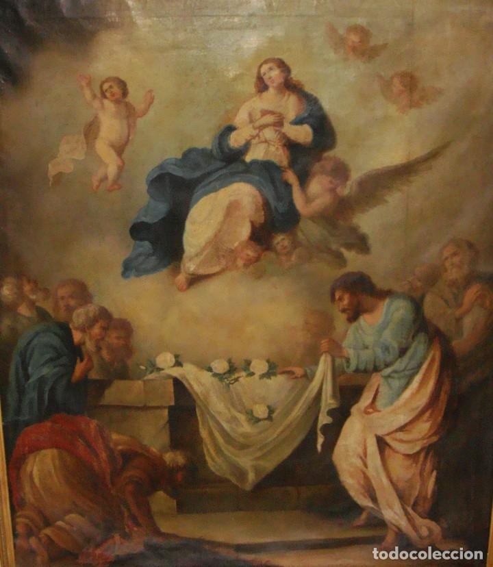 Arte: Óleo sobre lienzo. S.XIX. Pintura religiosa. Asunción de la Virgen. - Foto 9 - 171442574