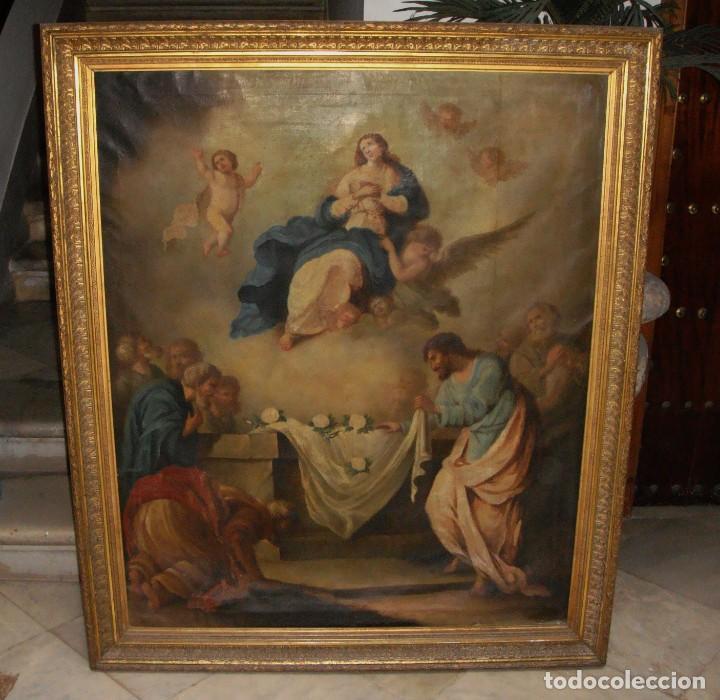 Arte: Óleo sobre lienzo. S.XIX. Pintura religiosa. Asunción de la Virgen. - Foto 10 - 171442574