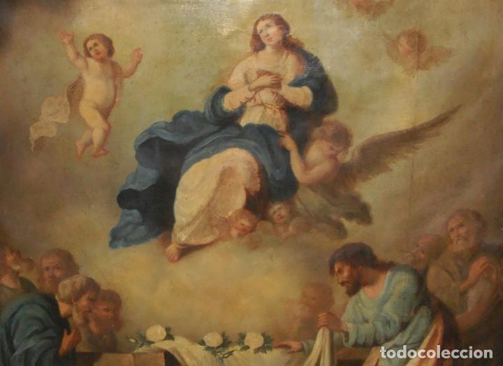 Arte: Óleo sobre lienzo. S.XIX. Pintura religiosa. Asunción de la Virgen. - Foto 11 - 171442574