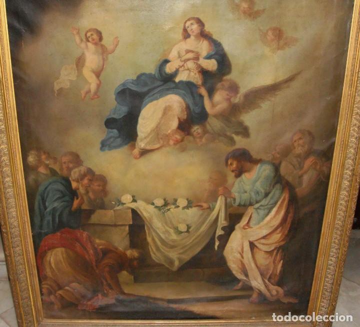 Arte: Óleo sobre lienzo. S.XIX. Pintura religiosa. Asunción de la Virgen. - Foto 12 - 171442574