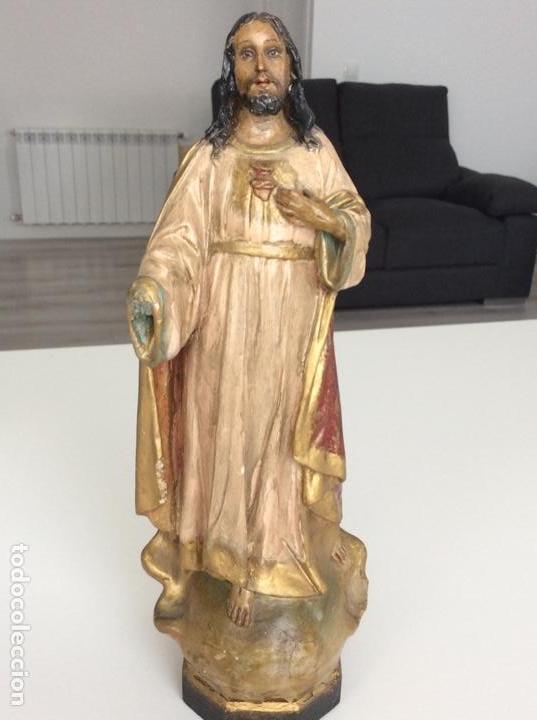 Arte: Imagen de madera policromada del Sagrado Corazón de Jesus. S. XIX o anterior. Bellísimas facciones. - Foto 3 - 171489654