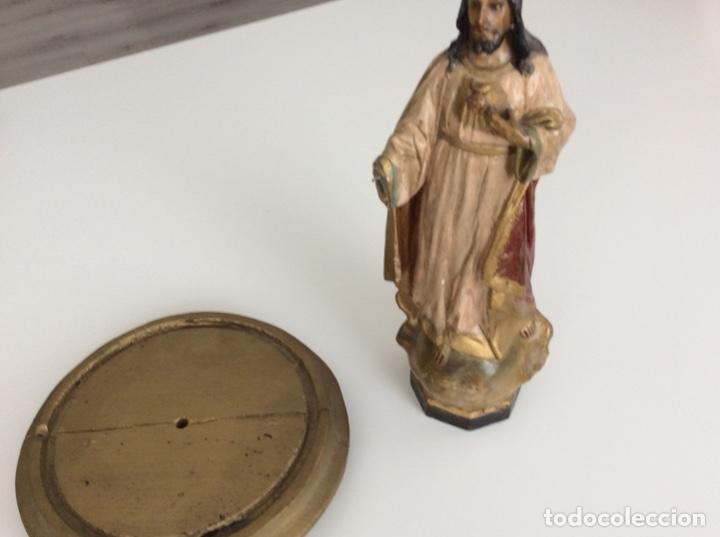 Arte: Imagen de madera policromada del Sagrado Corazón de Jesus. S. XIX o anterior. Bellísimas facciones. - Foto 6 - 171489654
