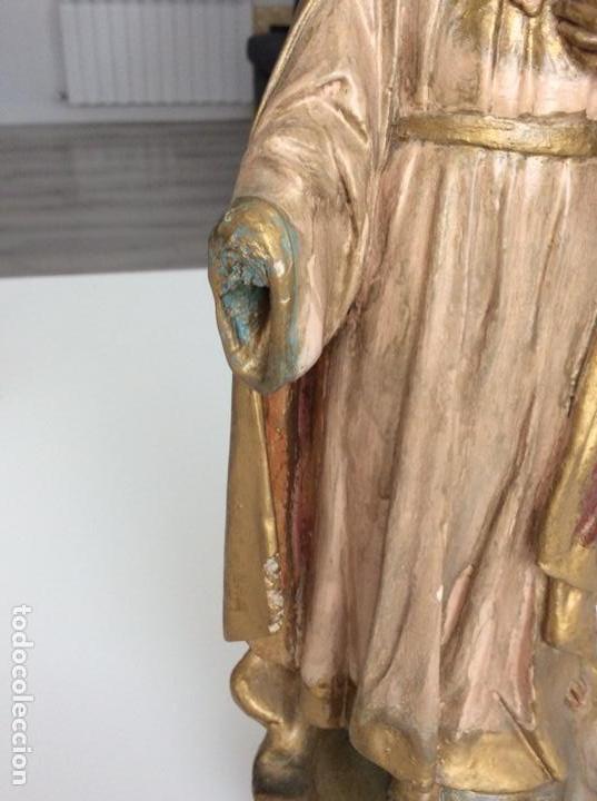 Arte: Imagen de madera policromada del Sagrado Corazón de Jesus. S. XIX o anterior. Bellísimas facciones. - Foto 7 - 171489654