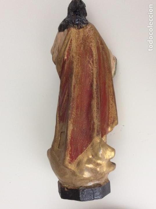 Arte: Imagen de madera policromada del Sagrado Corazón de Jesus. S. XIX o anterior. Bellísimas facciones. - Foto 8 - 171489654