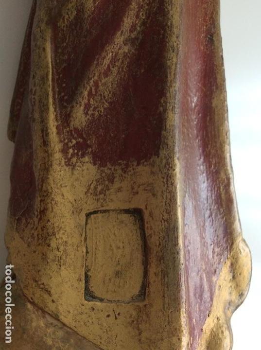 Arte: Imagen de madera policromada del Sagrado Corazón de Jesus. S. XIX o anterior. Bellísimas facciones. - Foto 10 - 171489654