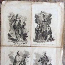 Arte: GRABADOS RELIGIOSOS SIGLO XVIII-BEATA VIRGO CARMELITA,SANTA MARGARITA........ Lote 171504732