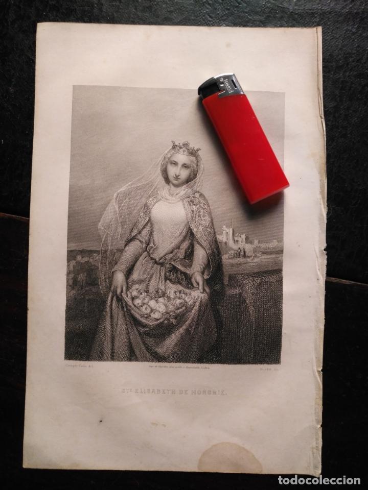 1856 SANTA ISABEL DE HUNGRIA 25 X 18 CM GRABADO ORIGINAL AL COBRE - COMPTE CALIZ DEL. BURDET SE. (Arte - Arte Religioso - Grabados)