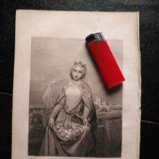 Arte: 1856 SANTA ISABEL DE HUNGRIA 25 X 18 CM GRABADO ORIGINAL AL COBRE - COMPTE CALIZ DEL. BURDET SE.. Lote 171519320