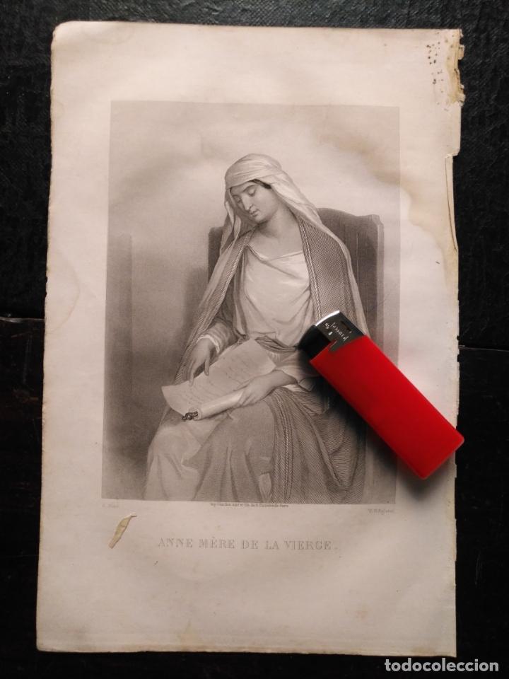1856 SANTA ANA LA VIRGEN 25 X 18 CM GRABADO ORIGINAL AL COBRE - G.STAAL. / W. H. EGLETON. (Arte - Arte Religioso - Grabados)