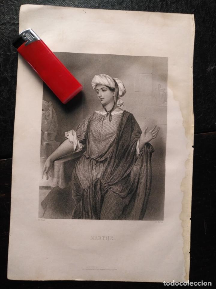 1856 SANTA MARTA 25 X 18 CM GRABADO ORIGINAL AL COBRE - G.STAAL. / B. EYLES (Arte - Arte Religioso - Grabados)