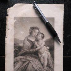 Arte: 1856 VIRGEN NIÑO JESUS 25 X 18 CM GRABADO ORIGINAL AL COBRE - G.STAAL. / W. EGLETON. Lote 171520865