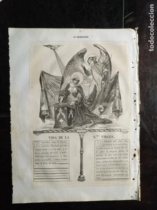 Arte: antiguo grabado siglo xix vida de la santisima virgen impreso en 1853 - LA ANUNCIACION - Foto 2 - 171533134